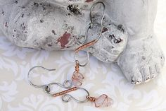 Infinity Dangle Earrings With Wire Wrap Stone, Stainless Steel S Curves, Wire Wrap Dangle Charm Earrings, Copper Wrapped Earrings