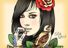 Rik Lee, Super Free, Pop Art Girl, Flat Sketches, Rockabilly, Tatoos, Snow White, Disney Characters, Fictional Characters