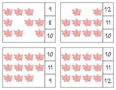 The Three Little Pigs Count & Clip Cards *Common Core Aligned*  There are 12 clip cards. On each card is a set of pictures to count and a choice of three numerals. Learners count the pictures in the set and clip a clothespin to the numeral that corresponds with the number of pictures in the set.  Common Core Standards: CC.K.B.4 CC.K.B.4a CC.K.B.4b CC.K.B.4c CC.K.B.5