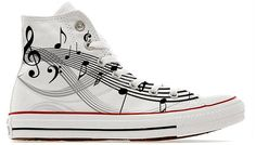 Musician musical notes illustrated custom converse high top shoes