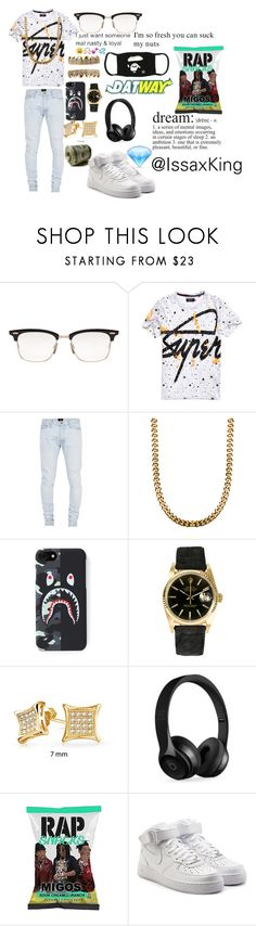 """""""Untitled #34"""" by issaxking on Polyvore featuring Thom Browne, Superdry, Fear of God, Rolex, Bling Jewelry, Beats by Dr. Dre and NIKE"""