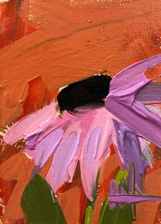 Coneflower no. 4 Original Floral Oil Painting by Angela Moulton ACEO Art #Impressionism