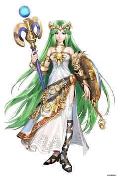 """Palutena,"" the goddess of light and ruler of Angel Land, from the Kid Icarus series of games, first debuting in the first ""Kid Icarus"" in 1986 for the Nintendo Entertainment System"