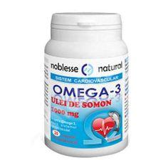 Omega 3 Forte Ulei de Somon 1000 mg, 120 capsule, Noblesse : Farmacia Tei Omega 3, Noblesse, E 10, Coconut Oil, Jar, Pharmacy, Vitamin E, Jars, Glass