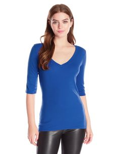 Michael Stars Women's Elbow-Sleeve V-Neck Tee, Bougainvillea, One Size at Amazon Women's Clothing store: