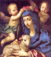 "St. Agnes (c. 304), is to be numbered among the most famous martyrs of Rome. When the Diocletian persecution was at its height, and when priests as well as laymen were apostatizing from the faith, Agnes, a girl of twelve, freely chose to die for Christ. When she was commanded to offer incense to false gods, she raised her hand to Christ and made the Sign of the Cross. The name of ""Agnes"" means ""lamb-life,"" and hence the lamb is the symbol of the modesty and innocence of the virgin-martyr."