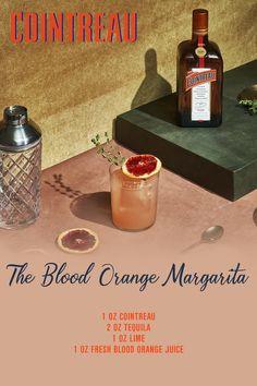 Liquor Drinks, Cocktail Drinks, Cocktail Recipes, Alcoholic Drinks, Beverages, Blood Orange Margarita, Orange Juice, Lime Juice, Refreshing Drinks