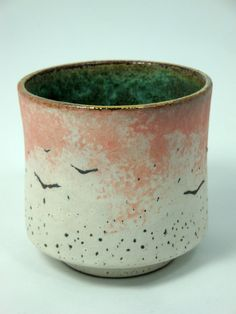 Handmade Stoneware Tea Cup with Engobe Decoration and Gold Luster Rim by Olia Lamar (Atwater Ceramics)