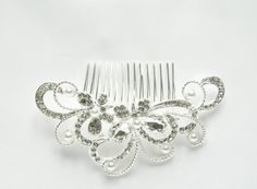 Rhinestone and Pearls Crystal Beads Bridal Hair by TheHeartLabel