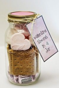 Mason Jar Valentine Gifts and Crafts | DIY Ideas for Valentines Day for Cute Gift Giving and Decor | Valentine Smore's Kit in a Jar | http://diyjoy.com/mason-jar-valentine-crafts
