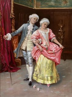 Young Rococo Couple In Magnificent Interiors, 1930 Artwork By Federico Andreotti Oil Painting & Art Prints On Canvas For Sale Classic Paintings, Old Paintings, Beautiful Paintings, Victorian Paintings, Victorian Art, Caravaggio, Vintage Images, Vintage Art, Art Romantique