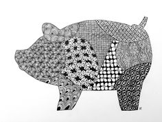 Zentangle, Zoo, Black and white, Animal, Pig