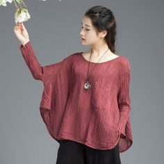 Three Colors Linen Fold Casual Women Tops C654T