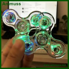 Acrylic Transparent LED Luminous Glitter clear Fidget Spinner Toy Hand Spinners Stress Anxiety Relief Toy