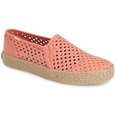Keds(R) 'Double Decker' Slip-On Espadrille (Women) (10.695 CRC) ❤ liked on Polyvore featuring shoes, sandals, coral, keds espadrilles, keds footwear, espadrille sandals, pull on shoes and geometric shoes