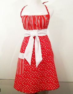 Woman's Full Apron-Red with White-Women105 by Barb70CraftShop (Accessories, Apron, Full, barb70craftshop, women, home and living, womans apron, gift ideas, womens apron, gift for mom, mothers day apron, full apron, kitsch apron, red apron, special occasion, woman's full apron)