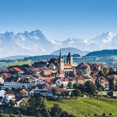 Romont (on the border of French and German speaking areas of Switzerland)