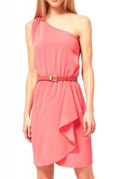 Elastic Waist Single Shoulder Sleeveless Chiffon Dress