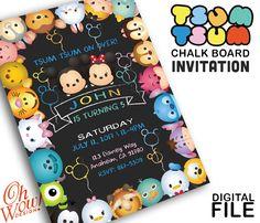 Tsum Tsum Chalk Board Party Invitation by OhWowDesign on Etsy
