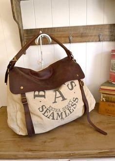 Bemis A Seamless Chicago Illinois Vintage Seed Sack Satchel Bag Americana Ooak Canvas And Leather Handbag Selina Vaughan