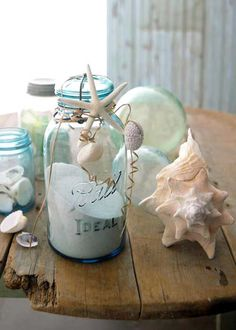 Make one of these for every visit to the beach with a label identifying what beach it came from. Visit a local antique store to find the jar so it's even more authentic.