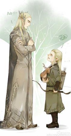 Thranduil and young Legolas. Omg! It that Thraduils elk as a baby?!