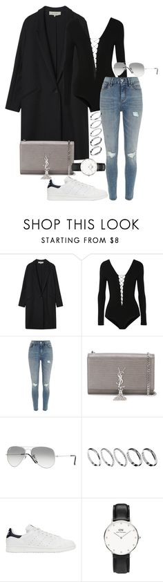 """#678"" by blendingtwostyles ❤ liked on Polyvore featuring Gérard Darel, T By Alexander Wang, River Island, Yves Saint Laurent, Ray-Ban, ASOS, adidas Originals and Daniel Wellington"
