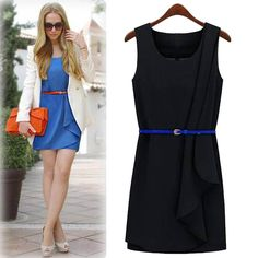 Find More Dresses Information about 2014 New Cheap Clothes China Fashion Women's Work Style Irregular Sweep Tank Dress with Belt Sashes OL Lady Black Blue Dresses,High Quality Dresses from Tina Fashion Woman Clothing Store on Aliexpress.com
