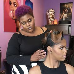 Retro Hairstyles This Hairstylist Thinks Her Stunning Retro Looks Belong In An Art Museum And She's Goddamn Right - Her finger waves are next-level! Black Hair Updo Hairstyles, 1940s Hairstyles, Black Girls Hairstyles, Weave Hairstyles, Hairstyle Short, Natural Hair Updo, Natural Hair Styles, Short Hair Styles, Finger Wave Hair