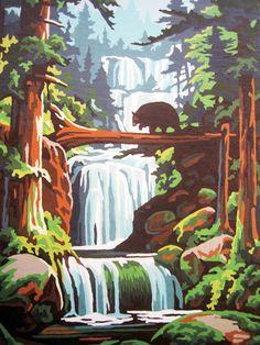 vintage Landscape Illustration, Landscape Art, Illustration Art, Painting Inspiration, Art Inspo, Paint By Number Vintage, Vintage Numbers, Bear Paintings, Vintage Paintings