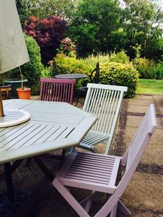 my lovely slatted wooden chairs found them on ebay for a real steel and - Garden Furniture Colours