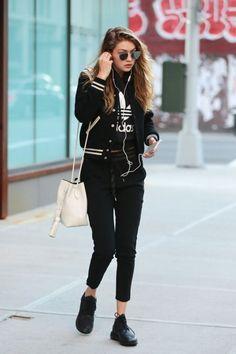 Look esportivo, roupa esportiva, street style.Guita Moda: Sportswear com Gigi Hadid
