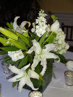 Debutante ball, floral arrangement, white flower centerpiece
