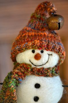 Snowman Wool Needle Felted Snowmen Holiday by BearCreekDesign