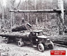 1927 International Truck Model 74 hauling logs.
