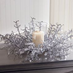 Glass Globe Christmas Decoration  - This Ice Crystal Centerpiece will bring the snowy outdoors inside!  Link    #Christmas
