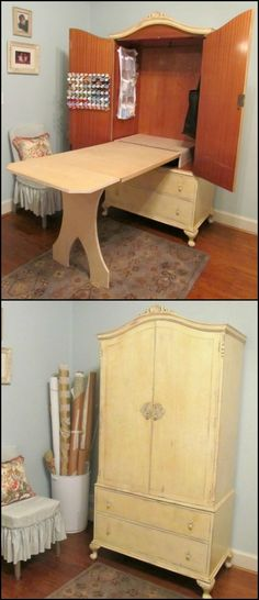 This clever storage solution is an armoire transformed into a sewing cabinet. View this collection to find simple craft supplies storage solutions... http://theownerbuildernetwork.co/bik3 Find the storage system that will get your craft station organized now!