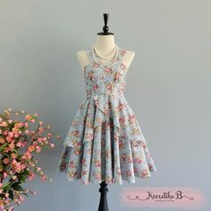 Roses Petal - Summer's Whisper Collection Spring Summer Sundress Floral Dusty Blue Party Dress Wedding Bridesmaid Dresses Floral Dress XS-XL