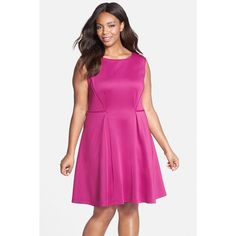 Gabby Skye Scuba Knit Fit & Flare Dress (Plus Size) ($45) ❤ liked on Polyvore featuring plus size fashion, plus size clothing, plus size dresses, berry, plus size, plus size pink dress, knit dress, flared dress and plus size fit and flare dress