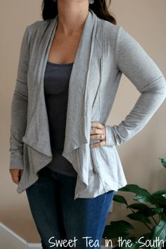 Alan French Terry Asymmetrical Zip Cardigan by Market and Spruce ($68) October 2015 Stitch Fix -- Sweet Tea in the South