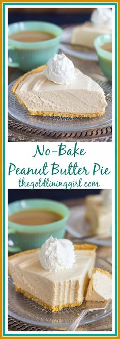 Creamy and rich, ready in minutes! No Bake Peanut Butter Pie is a MUST for holidays and get-togethers!