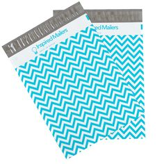 "Blue Chevron Printed Large Poly Mailers 14.5x19"" - Pack of 50"