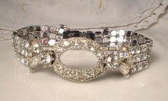 TRUE Vintage Art Deco Clear Paved Rhinestone Flapper Bridal Bracelet EXCELLENT Designer Signed 1920s Pave Crystal Downton Abbey