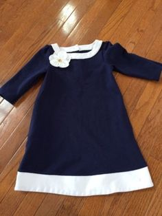 Janie And Jack Girls Size 5 5T Navy White Floral Spring Dress