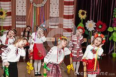 Dance performance of girls on a school holiday