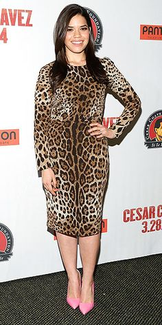 AMERICA FERRERA The actress goes wild in a curve-hugging leopard-print sheath and cotton-candy-pink Rupert Sanderson pumps at a screening of Cesar Chavez in N.Y.C.