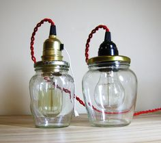 Mason Jar - Style Pendant Light  Mason Jar lighting  Mason jar string lights  Rustic table lamp  Hanging Light  Industrial desk lamp