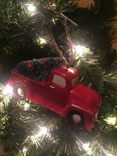 Made of plastic and resin with a jute hanger. Primitive Christmas, Country Christmas, Vintage Christmas, Hanging Ornaments, Christmas Tree Ornaments, Country Life, Country Decor, Red Mittens, Vintage Red Truck