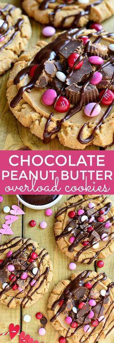 These Chocolate Peanut Butter Overload Cookies are a peanut butter lover's dream! Topped with peanut butter cups, M&M's, and chocolate ganache....they're the ultimate chocolate peanut butter combo!