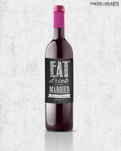 Custom Printable Wine Label // Wedding Favors by inkedheartsdesign, $15.00